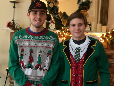 two boys wear christmas ugly sweaters