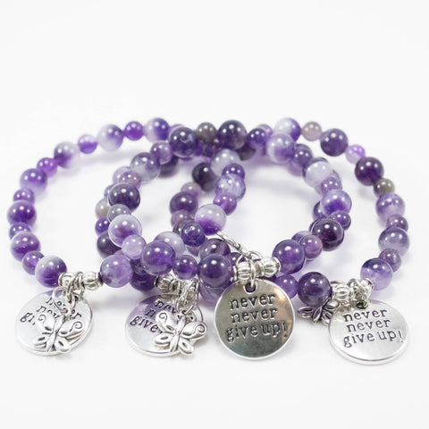 Never never give up amethyst bracelets - lupus and fibromylagia