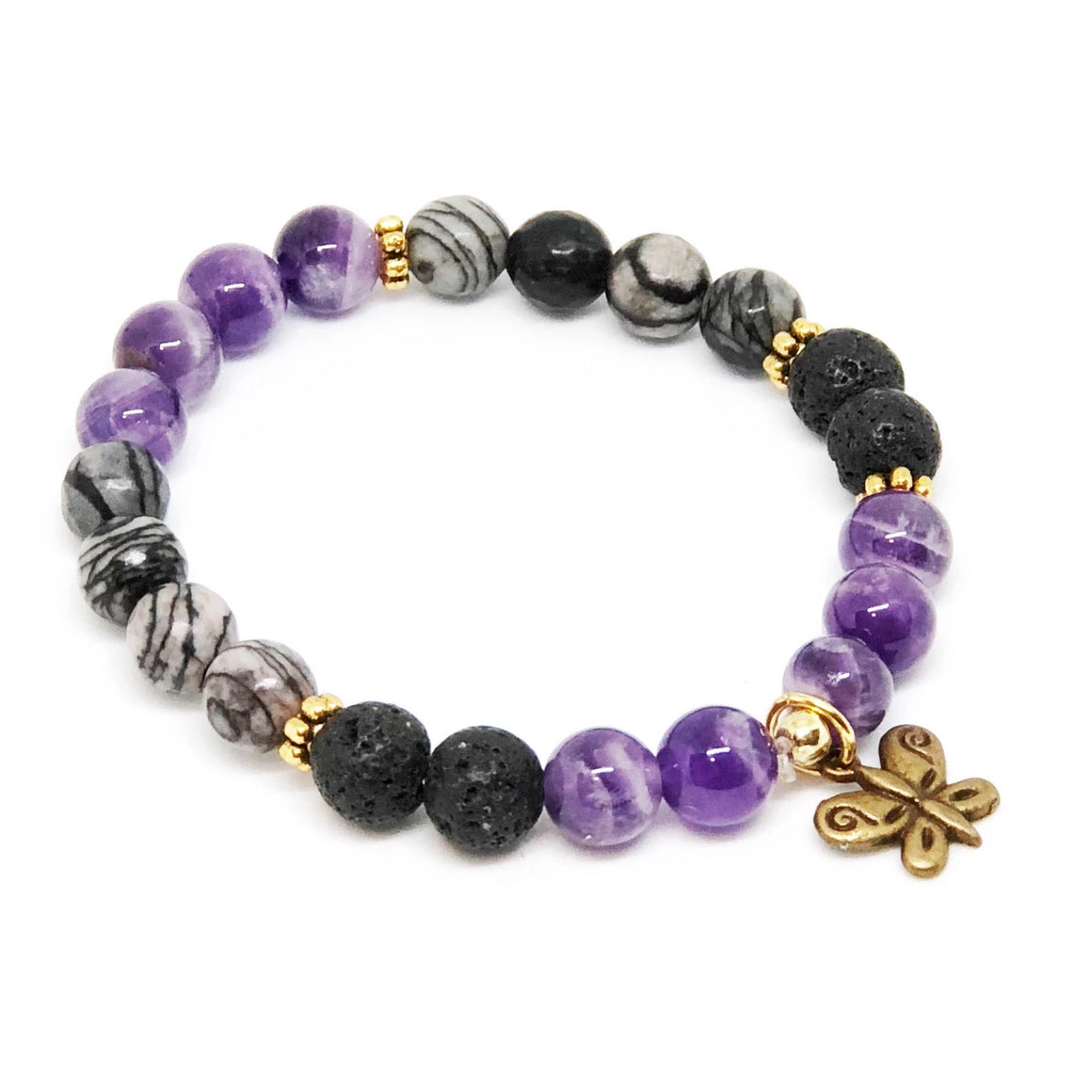 Diffuser Collection  - Amethyst and Lava Bracelet
