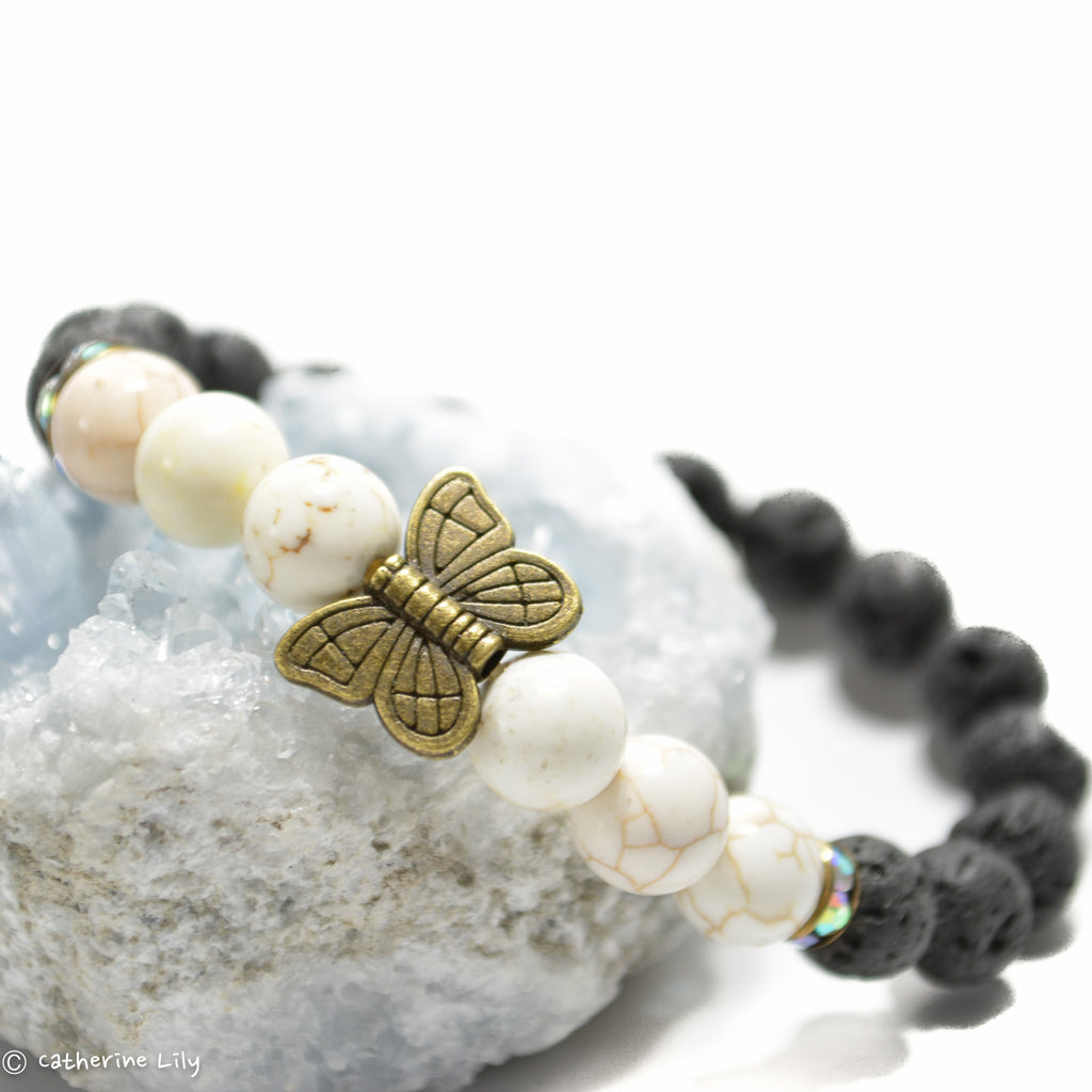 Butterfly with Black Lava Bracelets Essential Oils Diffuser