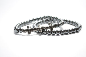 Healing Collection - Grey Hematite Bracelet with Crosses