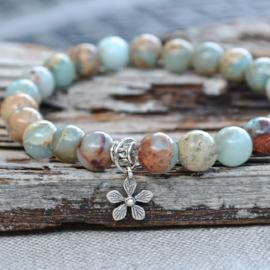 aqua terra jasper bracelet with sterling silver flower charm by butterfly warriors