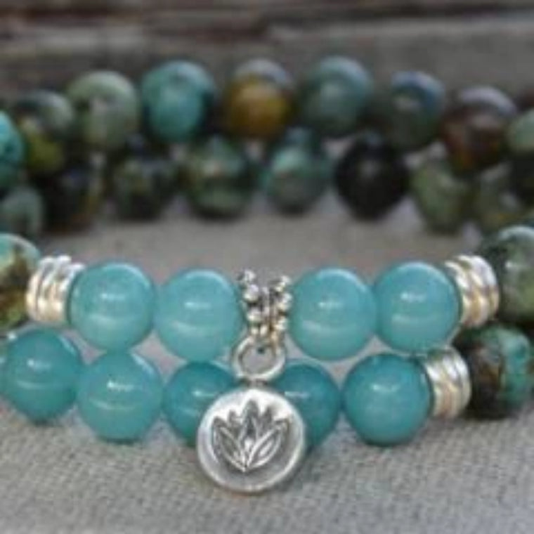 African Turquoise Stacking Bracelets with Sterling Silver Lotus Flower Charm