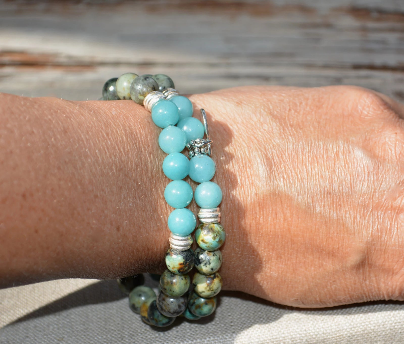 African Turquoise Stacking Bracelets With Sterling Silver Lotus
