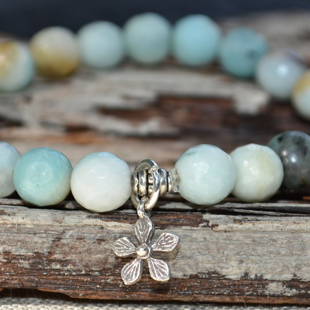 Sterling Silver Daisy Stretch Bracelet with Amazonite Stones