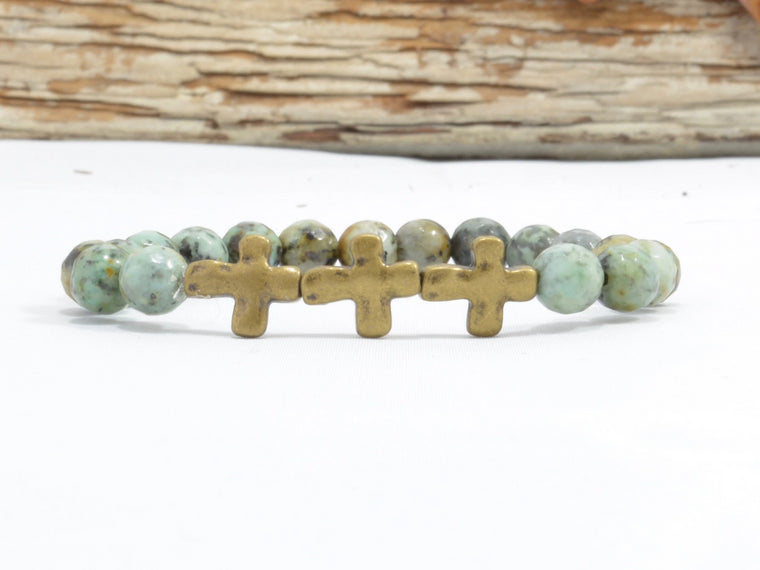Cross Bracelet with African Turquoise