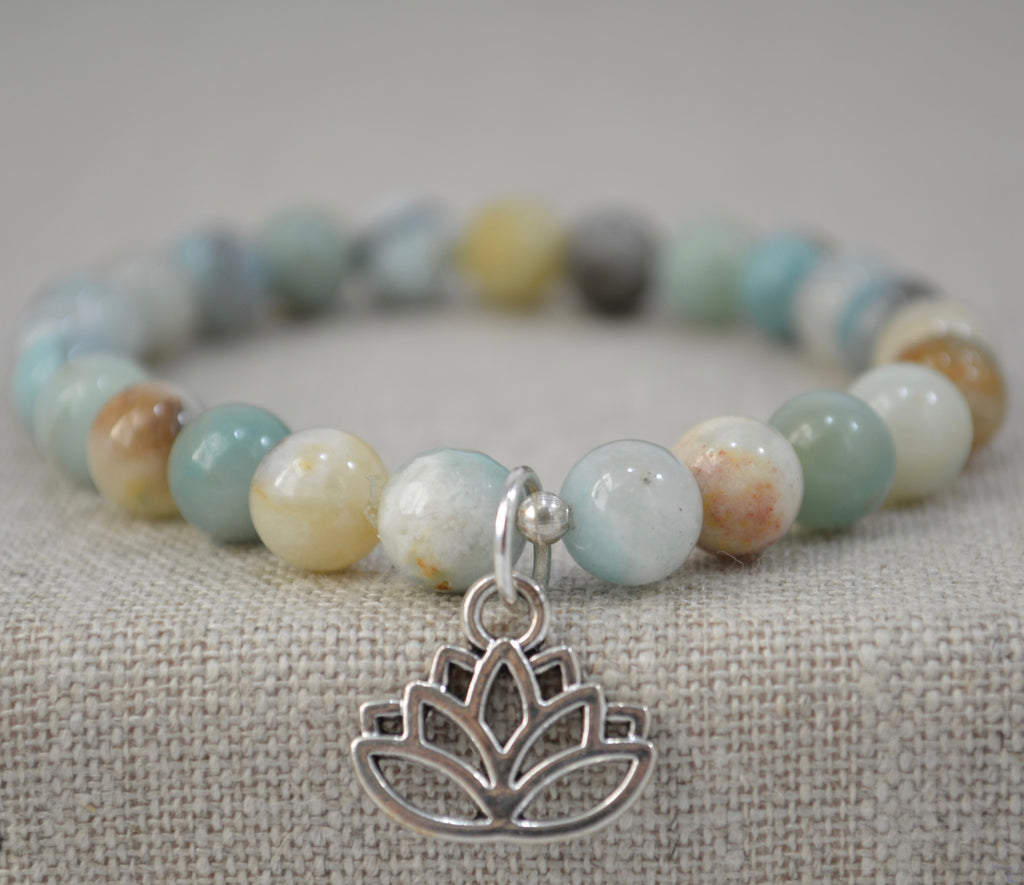 Amazonite and lotus flower bracelet
