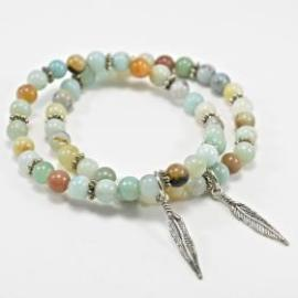 Balance Bracelet - Amazonite and Feather