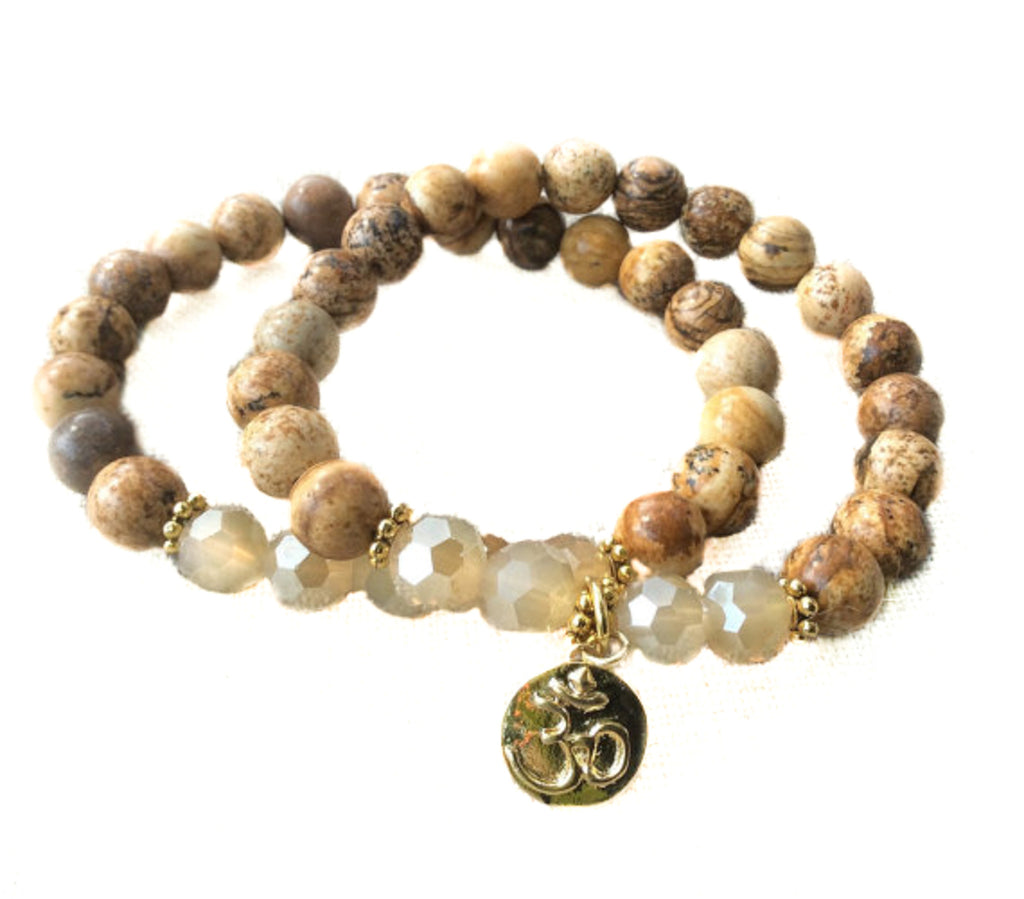 Gold Om Stretch bracelet stack