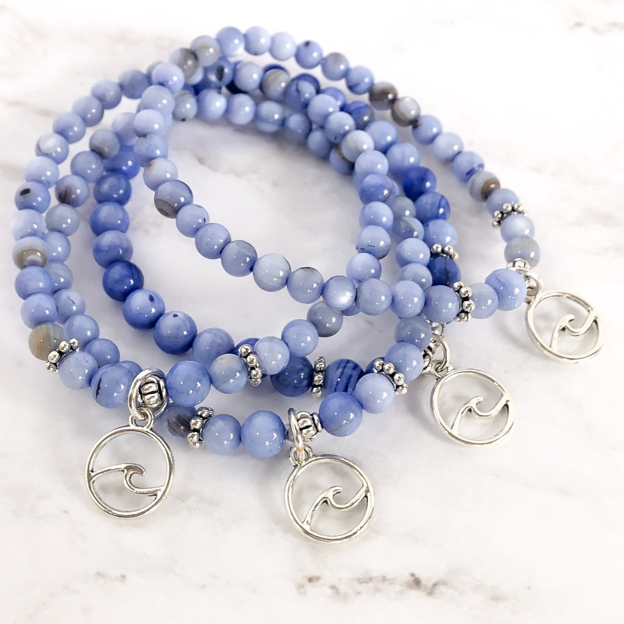 Blue Shell Wave Bracelet - Summer Collection