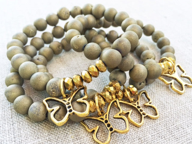 Gold Collection - Butterfly Druzy Stretch Bracelets