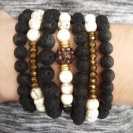 White and gold stretch bracelets