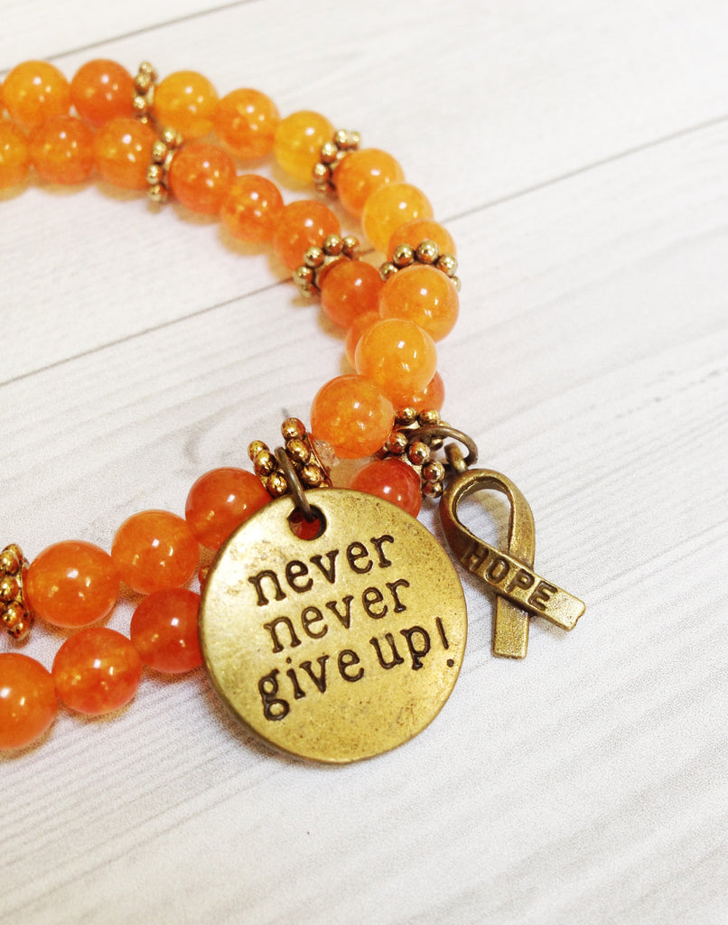 never give up and HOPE ribbon leukemia bracelets