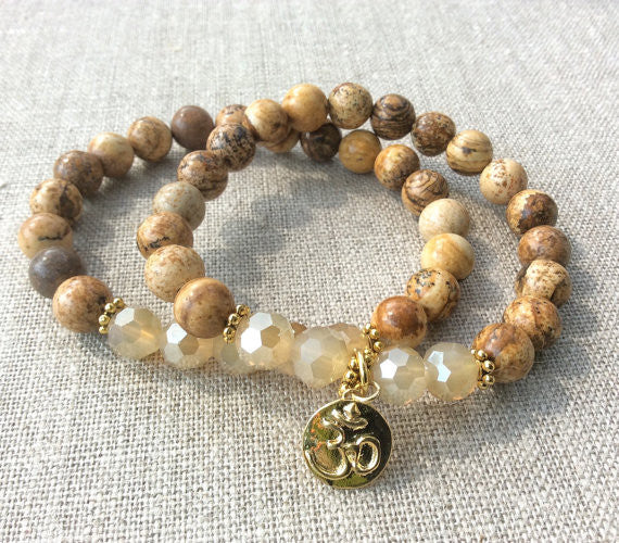 Nurturer Stone Collection - Gold Om Bracelets