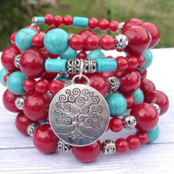 Red Gemstone Tree of Life Cuff