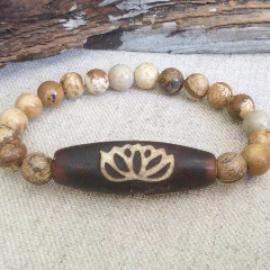 Zen Collection -Dzi Bead Gemstone Bracelet