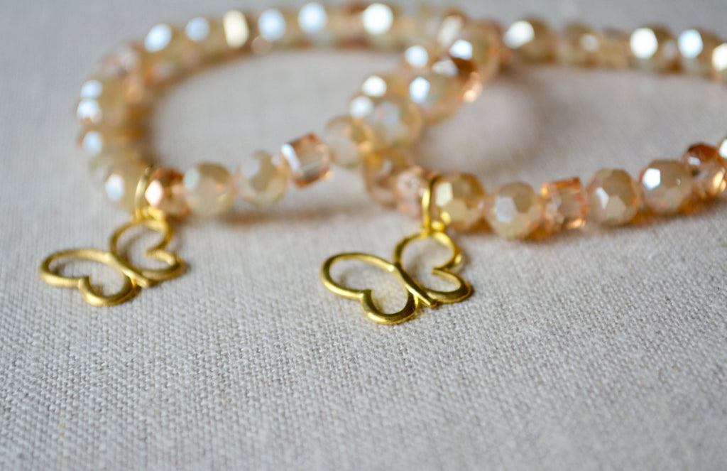 Gold Butterfly Bracelet - Childhood Cancer Awareness