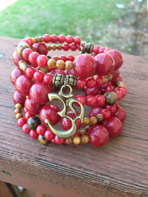 Zen Collection - Om Charm  Red Memory Wire Bracelet