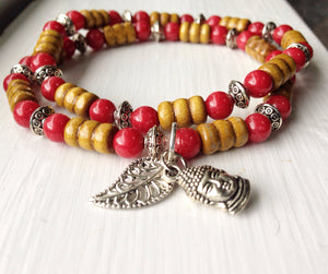 butterfly warriors jewelry red bracelet with silver leaf charm
