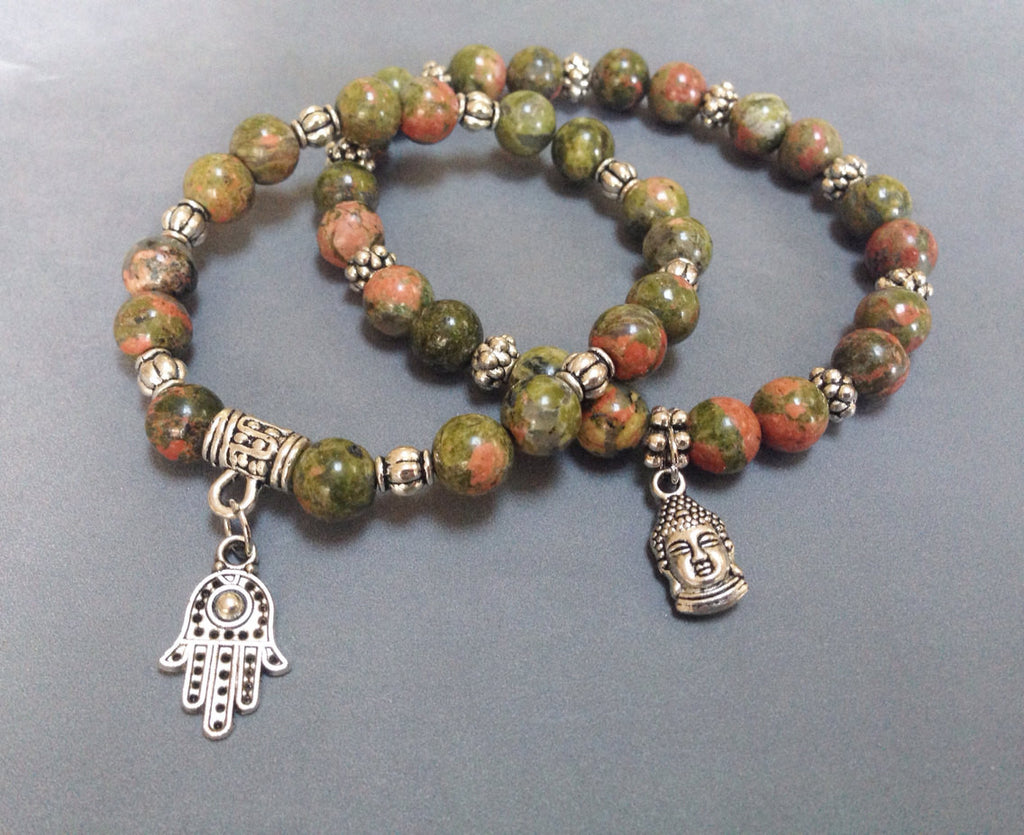 Zen Collection - Unakite Buddha Bracelet