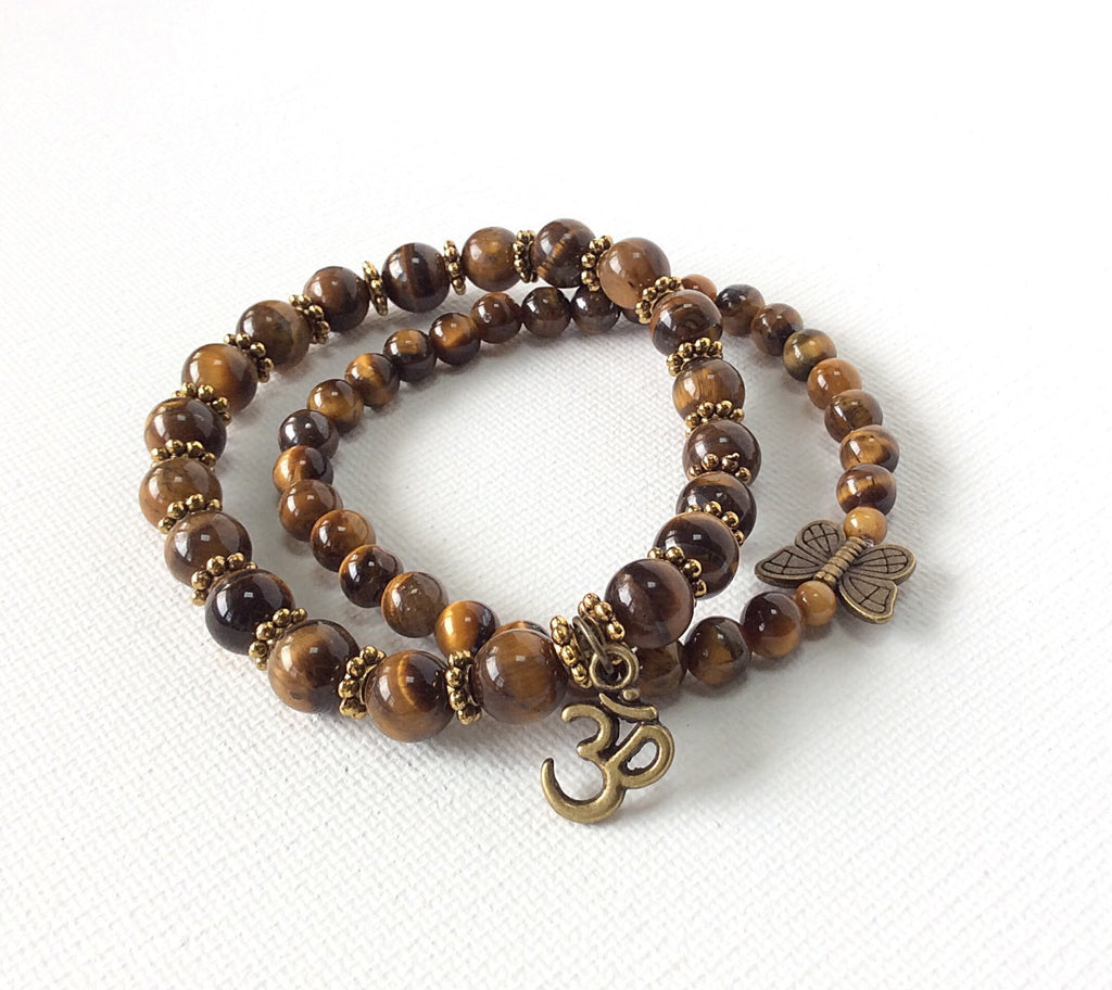 Tiger's Eye Gemstone Butterfly Bracelet