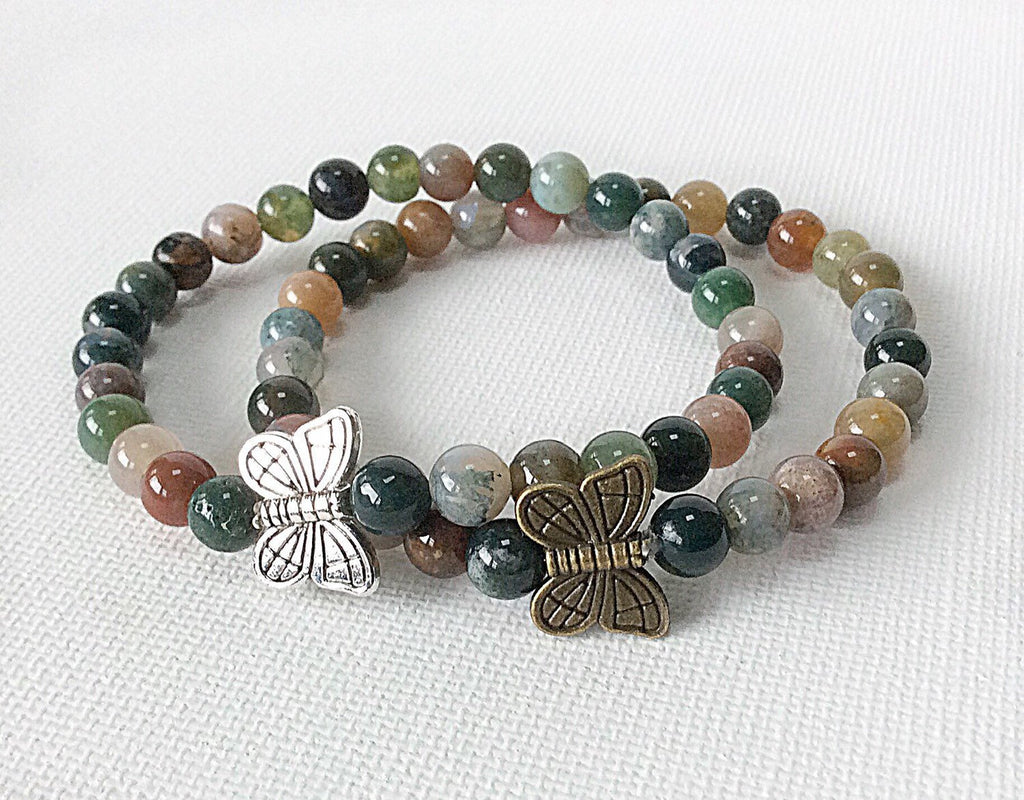 gold and silver butterflies on multicolor gemstone bracelet by Butterfly Warriors Jewelry