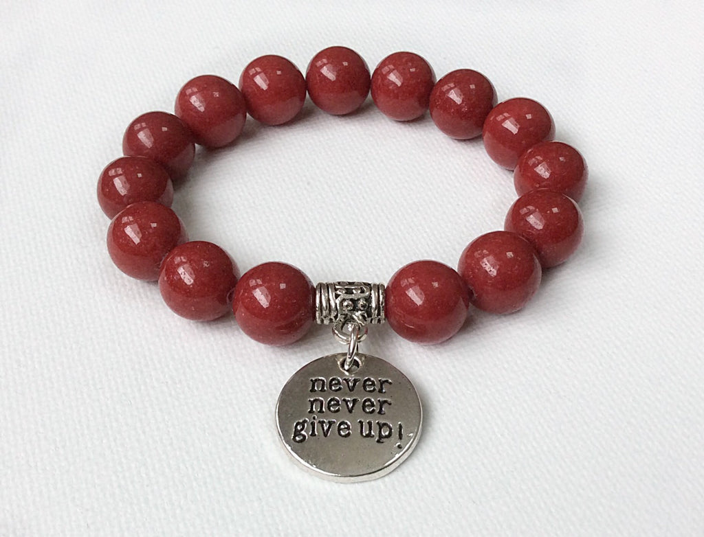 Never Give Up bracelet, Blood Cancer Awareness, Leukemia and Lymphoma Society Fundraiser