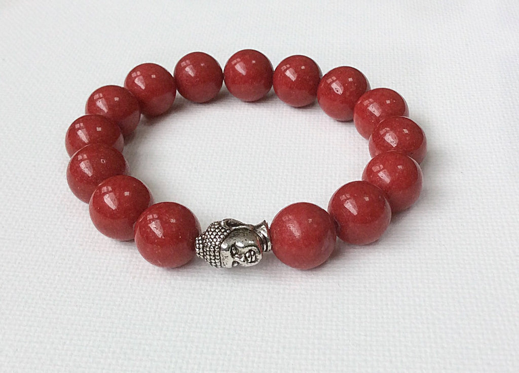 Red Buddha Gemstone Bracelet Unisex