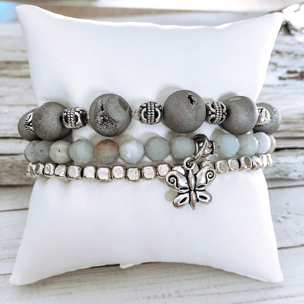 The Stack Collection: Silver with Amazonite