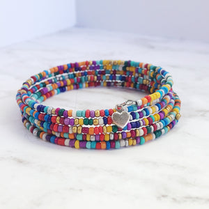 Rainbow Boho Cuff with Multicolored Seed Beads