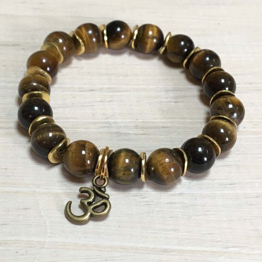 brown gemstone bracelet with om charm