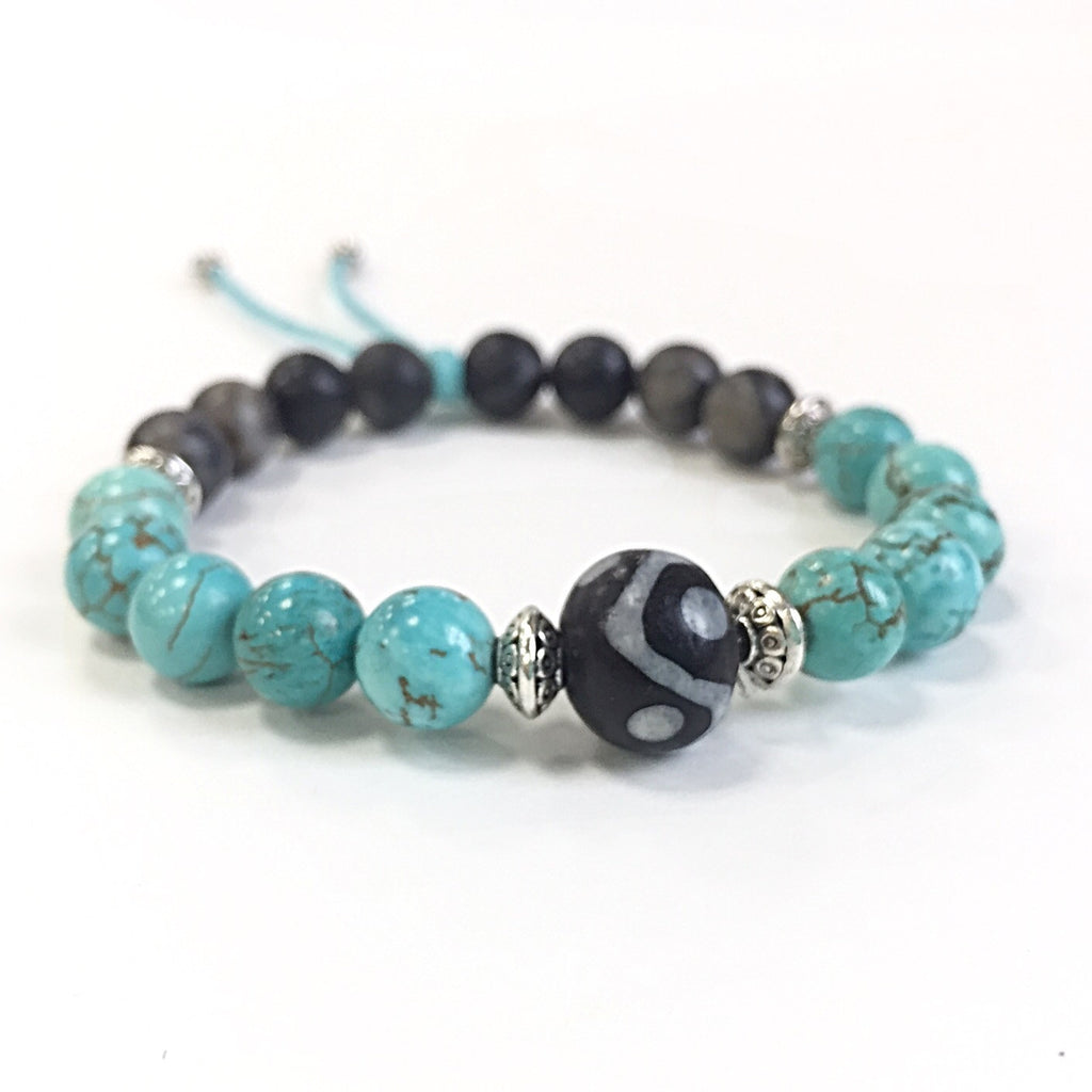 Communication Collection - Boho Turquoise and Black Bracelet