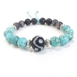 Turquoise diffuser bracelet with African bead