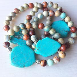 Inner Strength Collection - Bracelet with Turquoise and Aqua terra Jasper