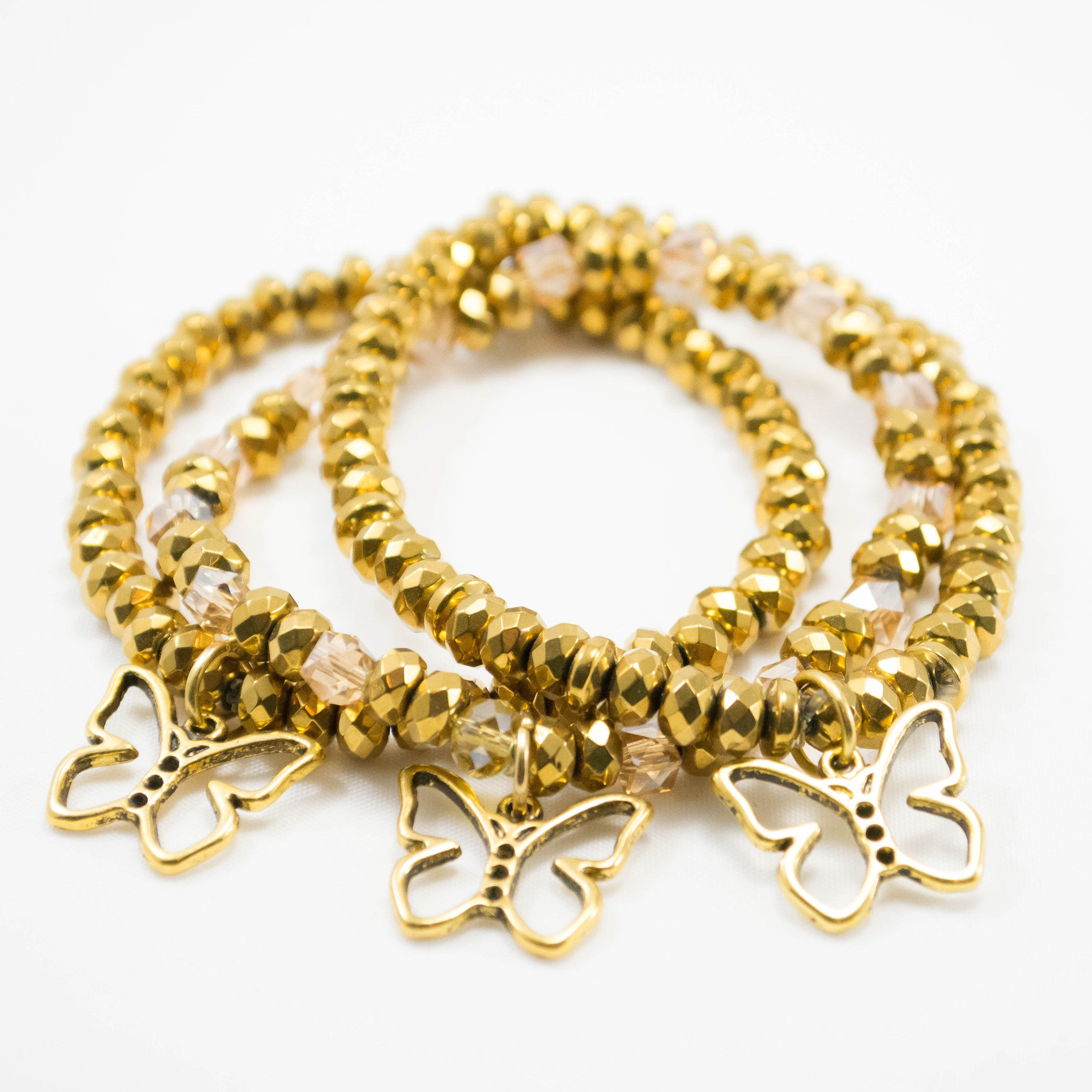 Gold Collection Childhood Cancer Awareness Butterfly Bracelets