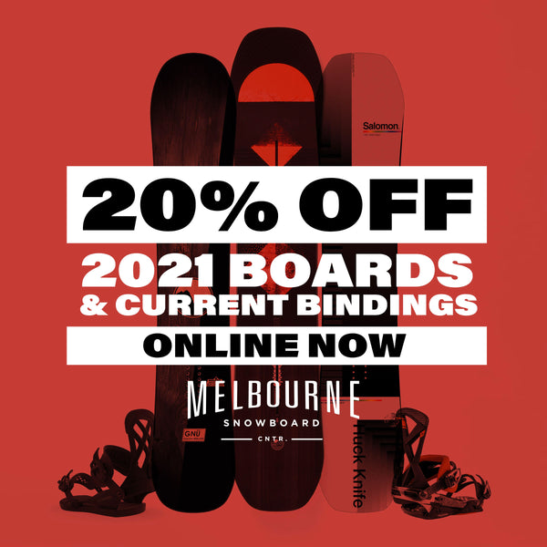 20% OFF 2021 Snowboards and Current Model Bindings!