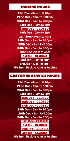 Christmas/New Years Trading Hours