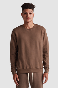CREW NECK SWEATSHIRT / ASH BROWN
