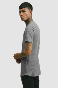 CURVED HEM U NECK / TRI-BLEND GREY
