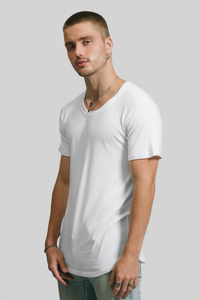 CURVED HEM U NECK / WHITE