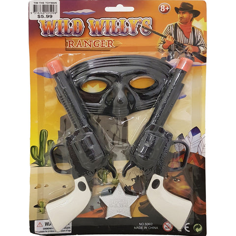 17DEC06R - Wild West Twin Gun Set with Mask and Badge