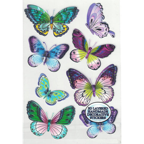3D-BUTTERFLY3-R - Tim The Toyman 3D Butterfly Stickers