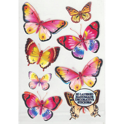 3D-BUTTERFLY4-R - Tim The Toyman 3D Butterfly Stickers