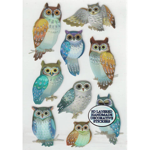 3D-GLITTEROWLS2-R - Tim The Toyman 3D Glittery Owl Stickers