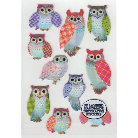 3D-GLITTEROWLS3-R - Tim The Toyman 3D Glittery Owl Stickers