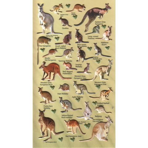 3DF-A-KANGAWAL-R - Tim The Toyman Australian Kangaroo & Wallaby 3D Foam Stickers