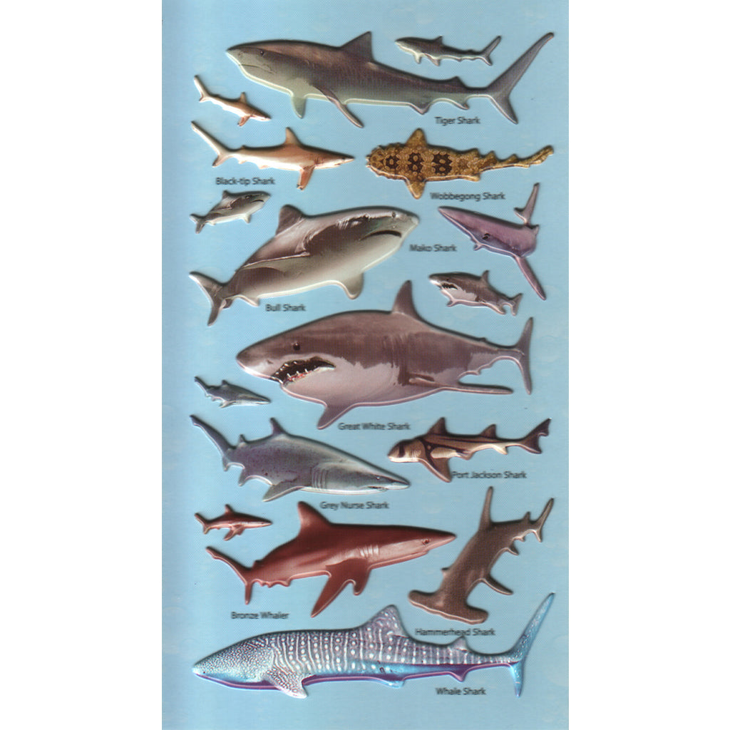 3DF-A-SHARKS-R - Tim The Toyman Australian Sharks 3D Foam Stickers