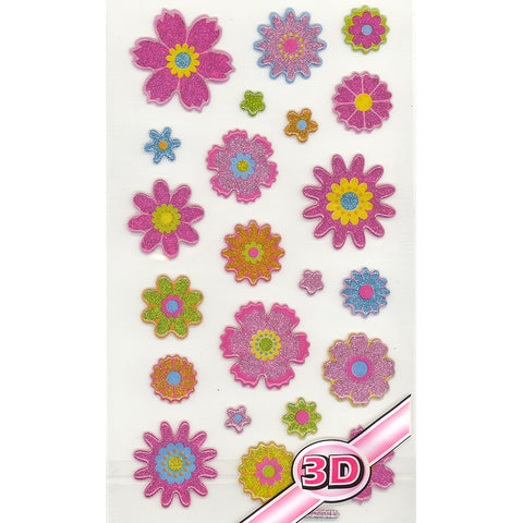 3DF-GFLOWERS-R - Tim The Toyman Glittery 3D Flower Stickers