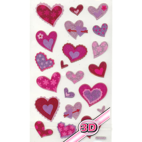 3DF-GLITHEARTS-R - Tim The Toyman Glittery 3D Heart Stickers