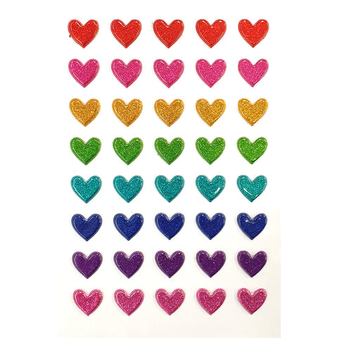 3DF-GLITTER HEART-R - Tim The Toyman Glitter Heart Stickers